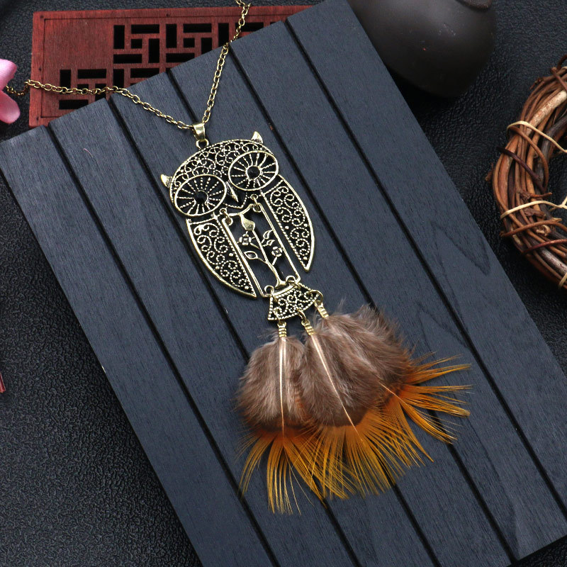 Hedd8f16490fc4d2abd342d50be2dbea60 - Women Bohemian Ethnic Long Chain Feather Pendant Dreamcatcher Necklace Choker Boho Clothing Jewelry Accessories