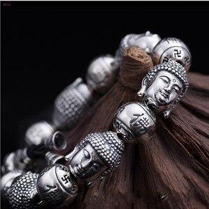Image 4 - BOCAI  Buddha S999 pure Silver Bracelet Pure silver bracelet man Thai silver mens Buddha beads Bracelet Silver Bracelet for men
