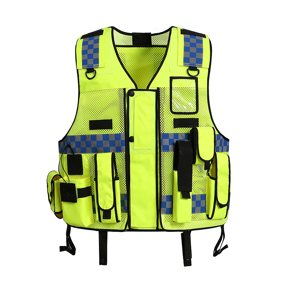 Customize Logo Reflective Safety Vest Security Patrol Vest Workwear Traffic Safety Clothing Night Reflective Pockets Vert