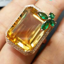 C-TWO ,Fine huge ring with natural citrine gemstone in 925 sterling silver with gold plated elegant ring for women and girl(China)