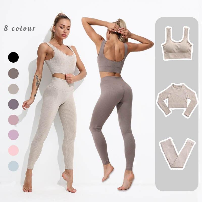Бесшовный комплект для йоги, женская одежда для фитнеса, комплект для спортзала, женская спортивная одежда, леггинсы с высокой талией, спорт...