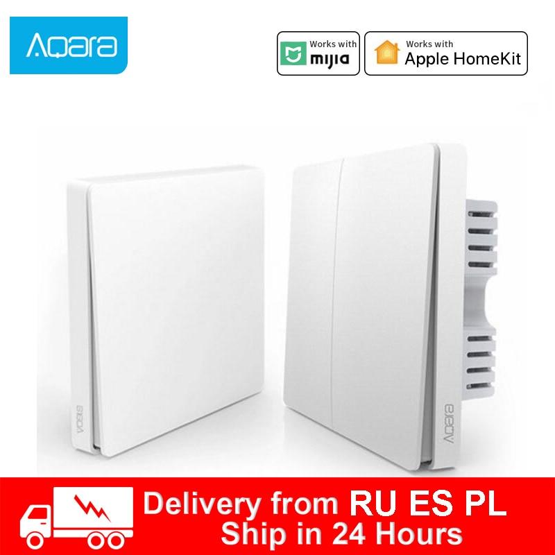 Xiaomi Aqara Wall Switch ZigBee Smart Light Remote Control Wireless Key Zero Line Fire Wire Wall Switch Without Neutral Mihome(China)