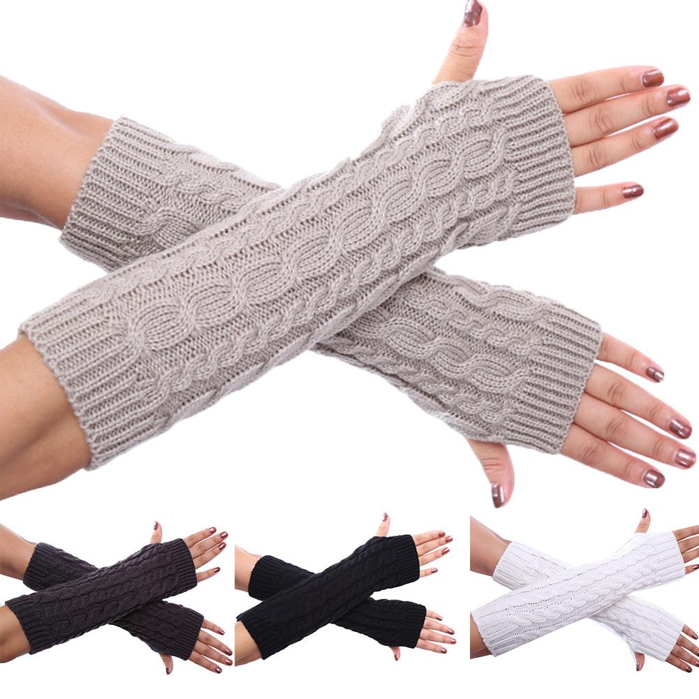 2020 Women Winter Solid Color Knitted Twist Fingerless Thumb Hole Gloves Arm Warmers