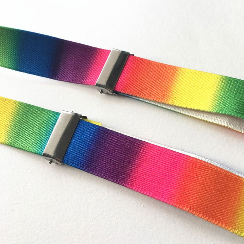 Fashion Personality Strap Belts Unisex Adult Straps Clip Rainbow Print Adjustable Suspender Belt
