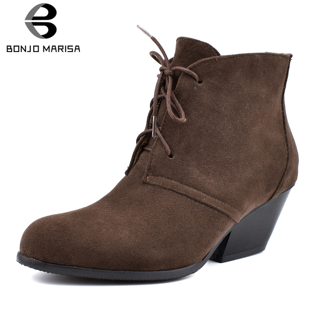 BONJOMARISA New Plus Size 34-48 Elegant Flock Booties Brand Design Med Chunky Heels Ankle Boots Women 2019 Winter Shoes Woman