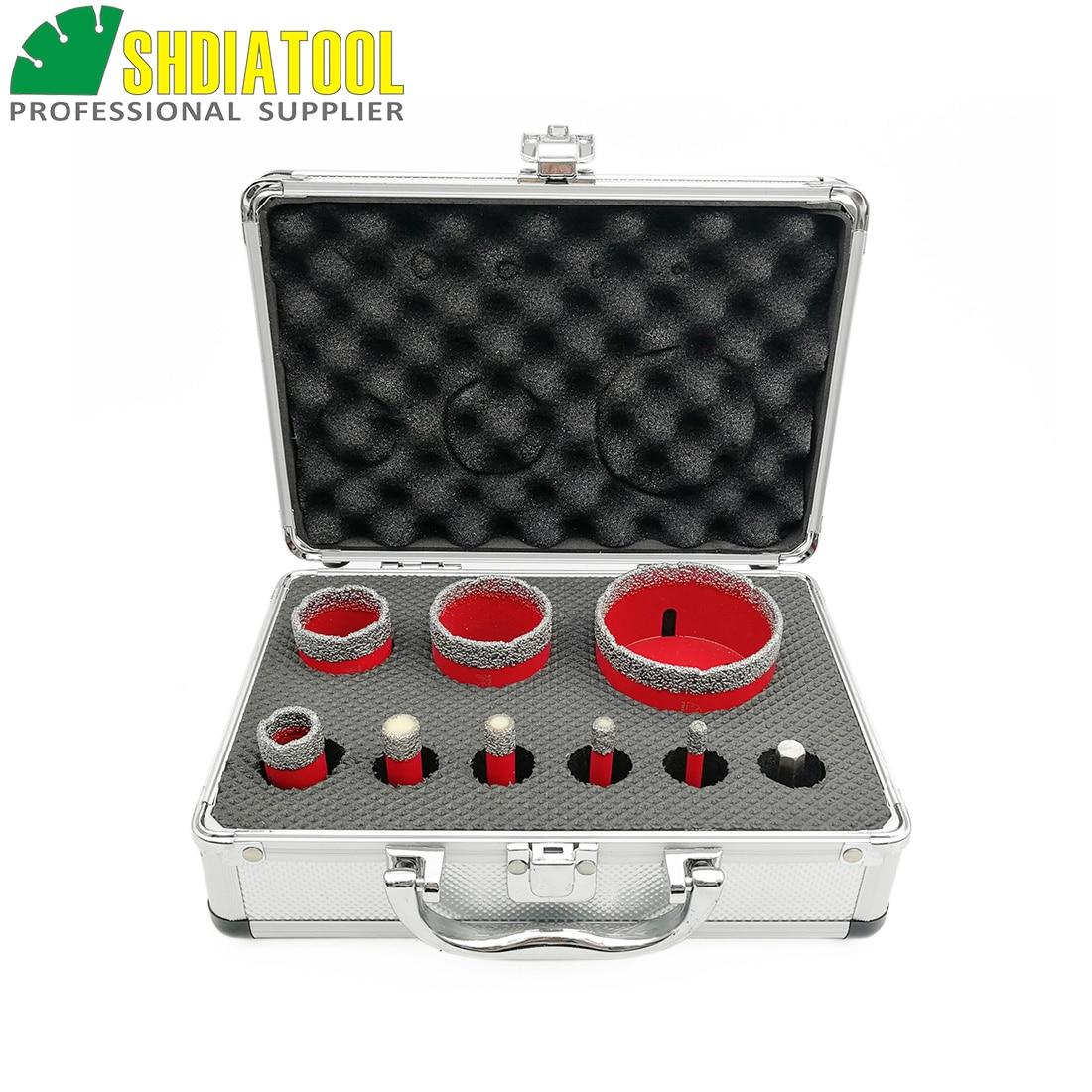 SHDIATOOL 1set/9pcs M14 Vacuum Brazed Diamond Drill Core Bits With Box Granite Marble Ceramic Hole Saw Drilling Bit& Hex Adapter