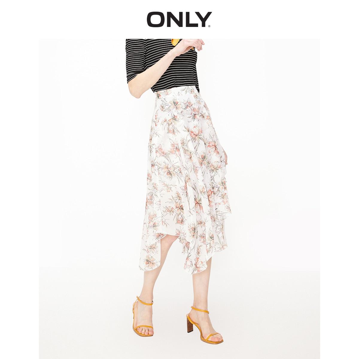 ONLY Women's High-rise Irregular Floral Chiffon Skirt | 119216505