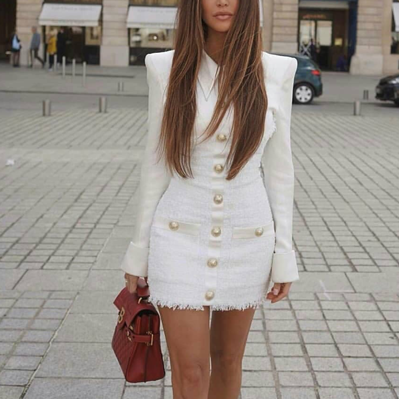 2020 Elegant ชุดฤดูหนาวแขนยาวดินสอสำนักงานชุดสำหรับสตรีชุดสีขาว Tweed ผู้หญิง PLUS ขนาด
