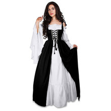 Plus Size 5XL Vintage Women Maxi Dress Square Collar Lace Up Swing Medieval Cosplay Long Dress Women Party Dresses Vestidos Robe