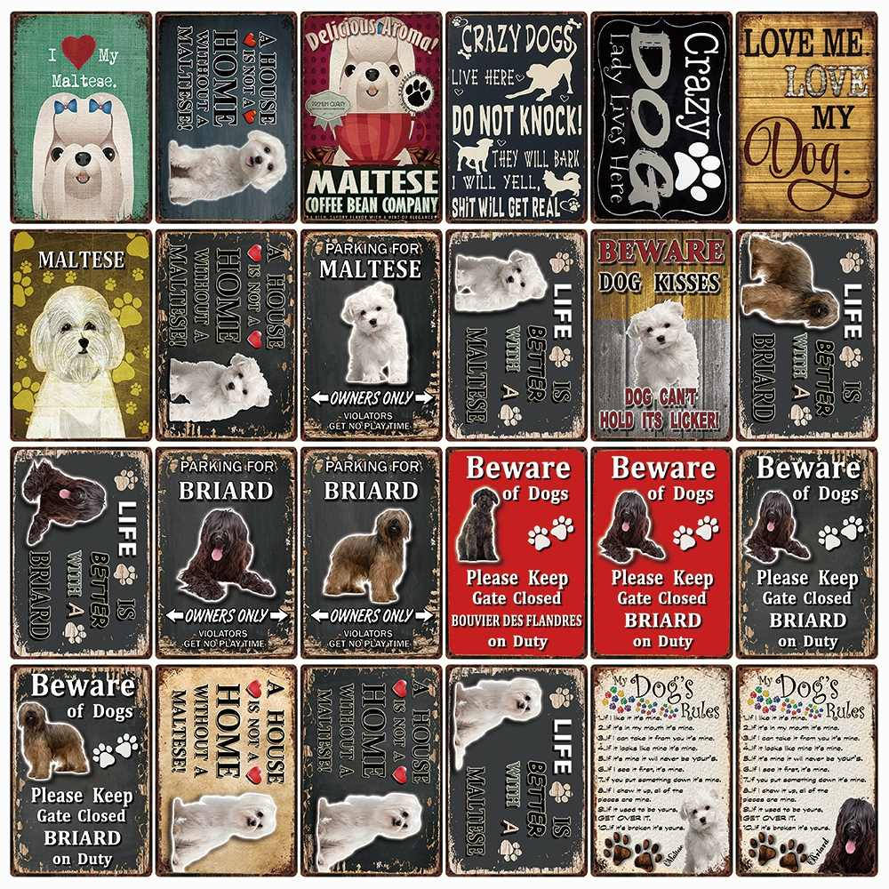 [ Kelly66 ] Pets Dogs Rules Life Is Better With A Maltese Briard Metal Sign Home Decor Bar Wall Art Painting 20*30 CM Size DG-46