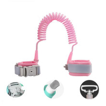 1Pcs Child Safety Harness Leash 1.5/2.5 M Induction Lock 360 Degree Rotating Wristband Belt Harness Leash Wrist Traction Rope(China)