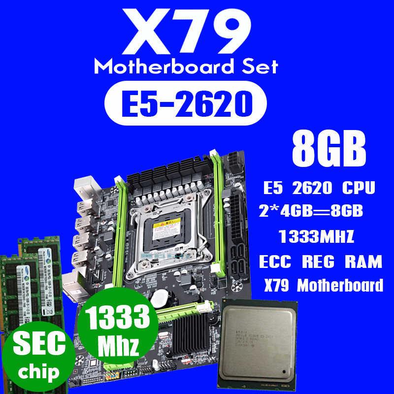 Atermiter X79 اللوحة مجموعة مع LGA2011 المجموعات زيون E5 2620 CPU 2 قطعة x 4GB = 8GB الذاكرة DDR3 RAM 1333Mhz PC3 10600R PCI-E