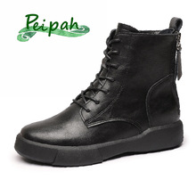 PEIPAH Women Rubber Ankle Boots Ladies Genuine Leather Shoes for Women Flat With Fur Short Plush Boots Female Retro Casual Shoes