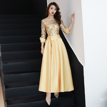 Golden Embroidery Lace New Woman Plus Size Social Festive Elegant Formal Prom Party Gowns Fancy Luxury Cocktail Dresses