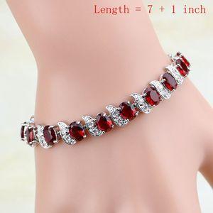 Image 2 - Water Drop 925 Sterling Silver Jewelry Red CZ Stone Jewelry Sets Women Earrings/Pendant/Necklace/Open Rings/Bracelet