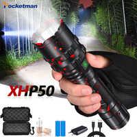 85000LM E17 L2 T6 фонарь светодиодный фонарики-мигалки перезаряжаемый XHP50 водонепроницаемый масштабируемый фонарь фонарик свет 18650 или 26650 использ...