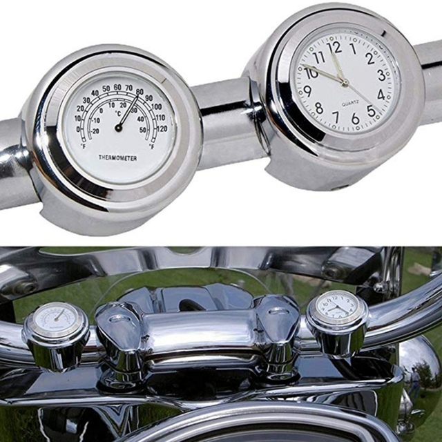 """Universal Waterproof 7/8 """"Motorcycle Handlebar Black/White Dial Clock Thermometer Motorcycles Accessories 1"""