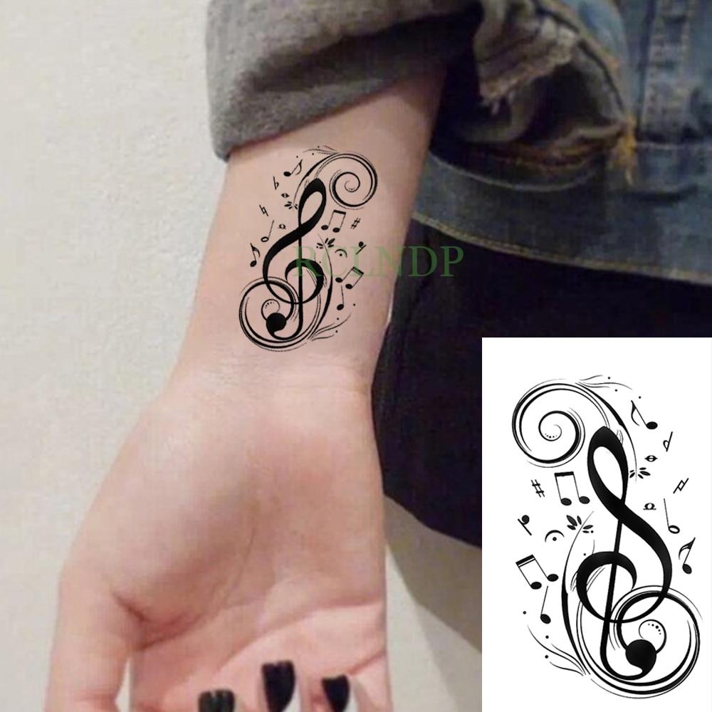Waterproof Temporary Tattoo Sticker Black Musical Note Music Tatto Flash Tatoo Fake Arm Hand Body Tatouage  For Men Women Kids