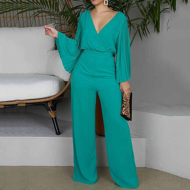 Plus Size 2XL  Sexy V-Neck Wide Leg Jumpsuit Pleated Sleeve High Waist Straight Pants Elegant OL Women Sets 2019 New Trendy