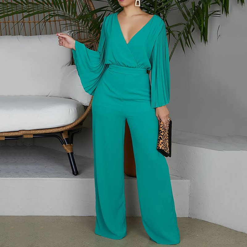 Plus Size 2XL Sexy V-Neck Wide Leg   Jumpsuit   Pleated Sleeve High Waist Straight Pants Elegant OL Women Sets 2019 New Trendy