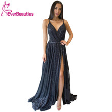 Black Sequins Evening Dress Long 2020 V-Neck Vestidos De Fiesta Side Split Robe De Soiree Sexy Backless вечерние платья цена 2017