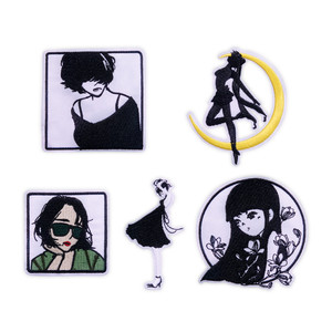 Iron on Patches for Clothing Stripes Fashion Girls Badges Stickers on Clothes Embroidered Patches for The Clothing DIY Appliques