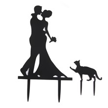Wedding Cake Topper Cake Decorations Engagement Bride & Groom with Cat Acrylic Cake cover(China)
