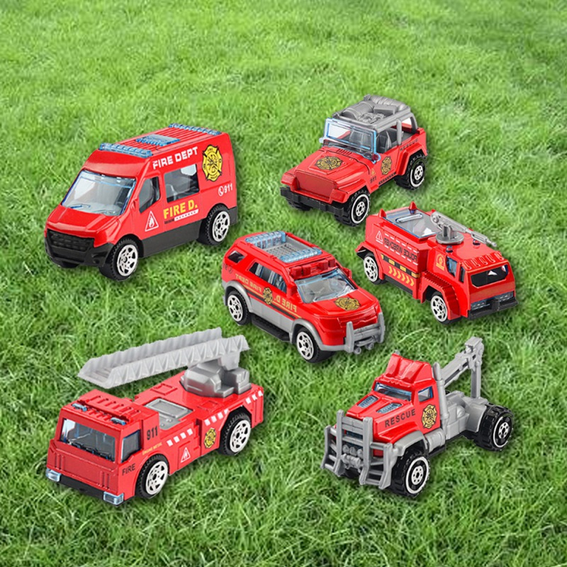 Baby 6Pcs Assorted Small Size Truck And Race Car Toy Kit Set Play Construction Vehicle Playset Educational Preschool Kids image