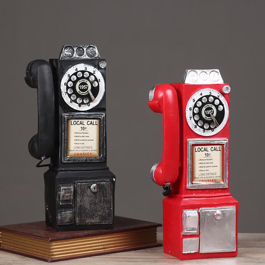 Retro Resin Dial Pay Phone Model Vintage Booth Telephone Figurine Home Decoration Ornament For Cafe Bar Crafts Ornaments