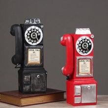 Retro Esfera de resina modelo de teléfono público Vintage cabina estatuilla de teléfono decoración del hogar ornamento para la cafetería Bar adornos artesanales