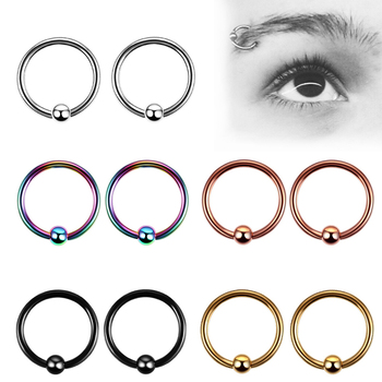 1 Pcs Surgical Stainless Steel Hoop Nose Ring With Ball Nose Rings And Studs Septum Earring Body Piercing Jewelry