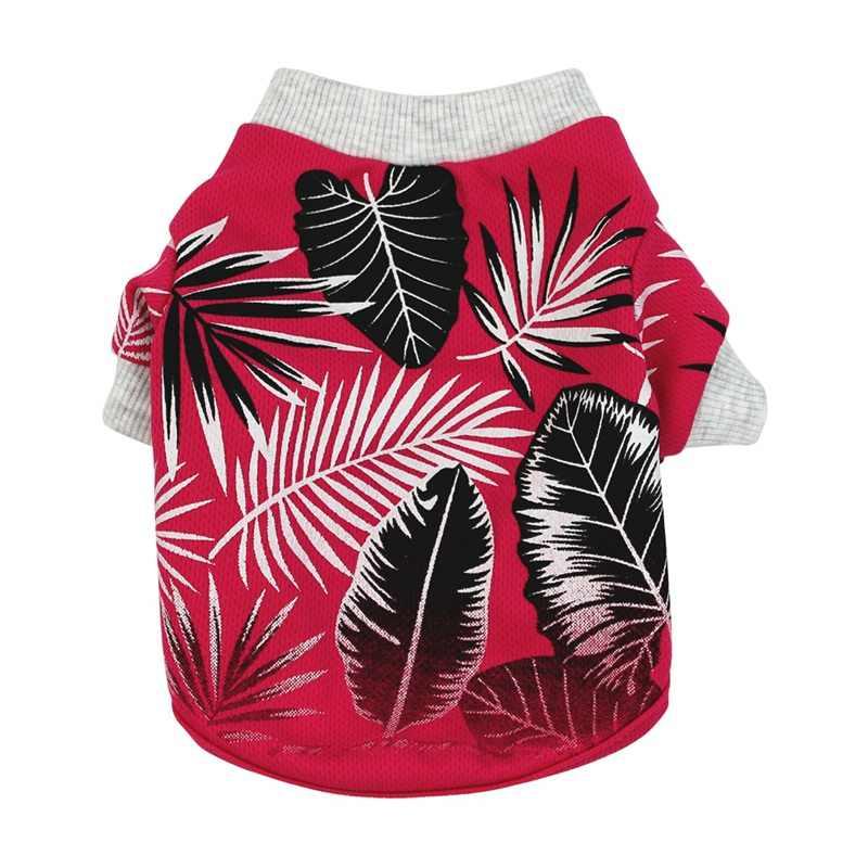 犬服夏のビーチのシャツ犬かわいいプリントハワイビーチカジュアルペット旅行シャツ葉プリント半袖犬猫ブラウス