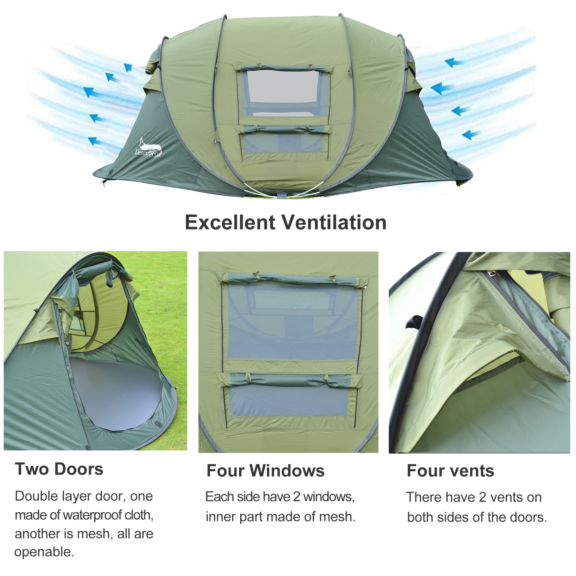 Desert&Fox Outdoor Camping Tents 3-4 Person Automatic Pop Up Instant Tent Hiking Travelling Tourist Fishing Beach Tents Awnings 2