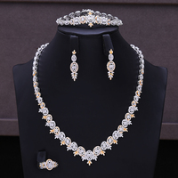 GODKI Luxury 4PCS Jewelry Set Nigerian CZ Shiny Bangle Open Ring Necklace Dangle Earrings for Women Bridal Wedding Jewelry Sets