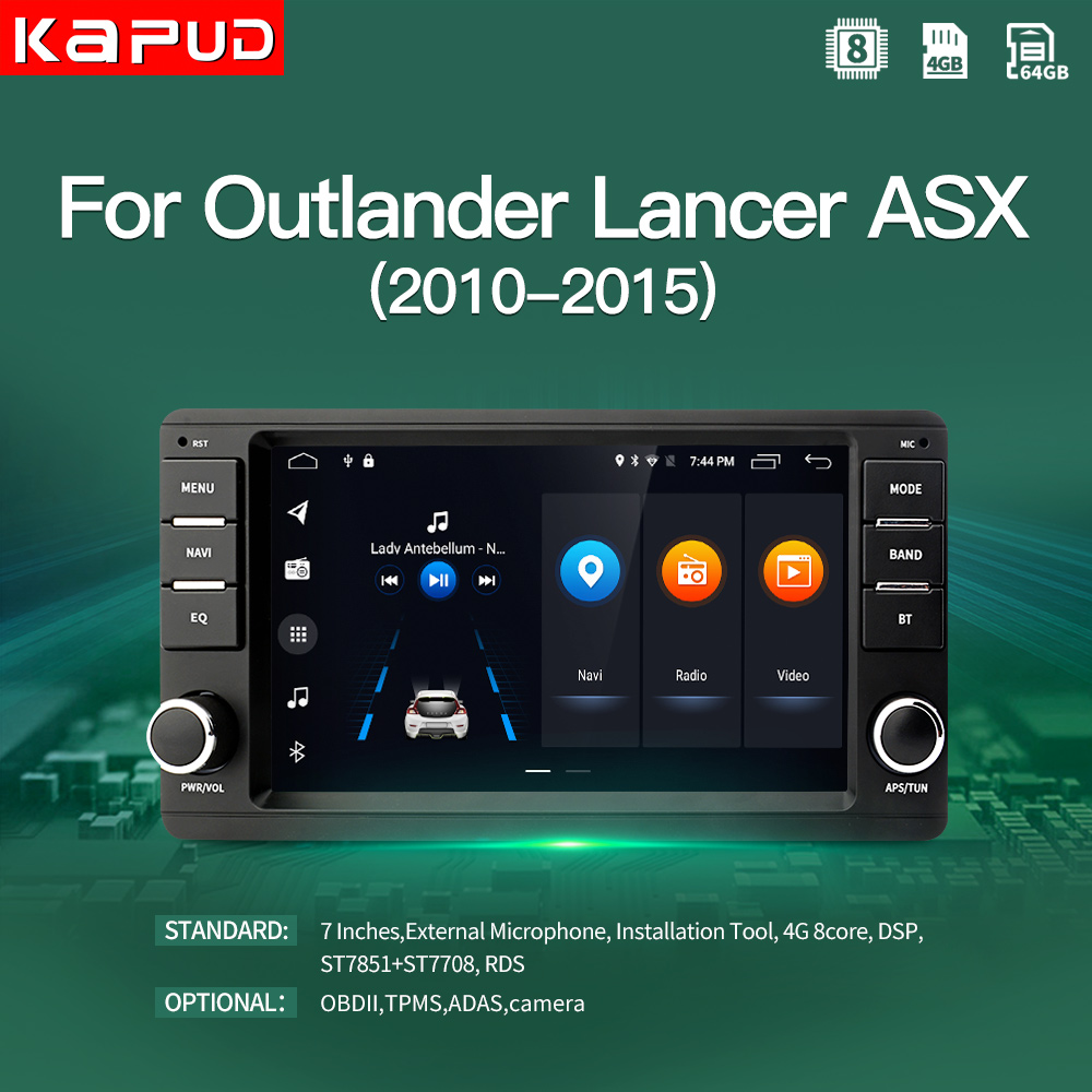Kapud Android 10,0 reproductor Multimedia para auto Mitsubishi Outlander 2014-2017 PAJERO ASX 4G GPS navegación Radio 4 + 64G