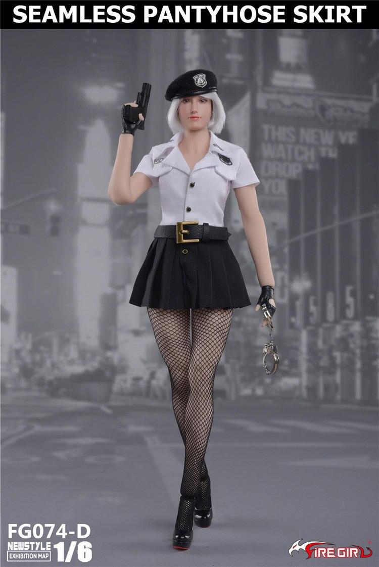 Bricolage feu fille jouets 1/6 FG074 tireur femme police derss jupe avec bas casquette sous-vêtements vêtements ensembles sans corps Figure - 4