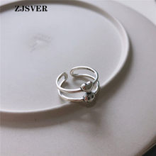 ZJSVER Korean Jewelry 925 Sterling Silver Rings Fashion Simple Double Layer Smiley Face Heart Opening Adjustable Women Ring(China)
