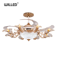 luxury LED Invisible Retractable Ceiling Fans With Light Living Room Folding Ceiling Fan Lamp Remote Control High quality