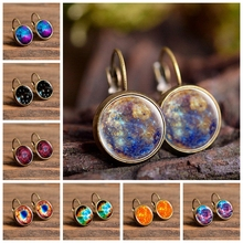 2019 New Fashion Jewelry Galaxy Space Stud Earrings Glass Cabochon Mercury Planet Art Photo Dome Round Earrings Girl Women Gifts
