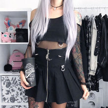 Spring Summer 2020 Black Gothic Vintage Skirts Harajuku moon Pendant Grunge Punk Rock MIni Skirt Women Zipper Chic(China)