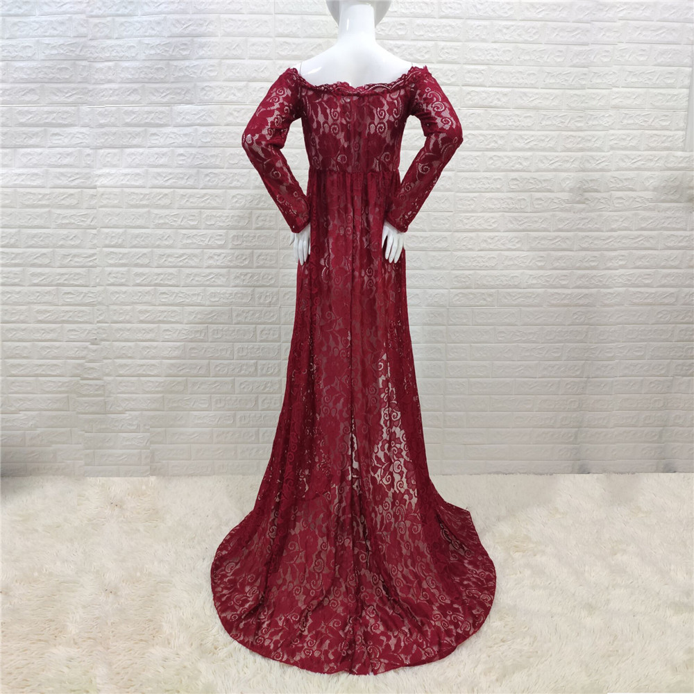 Sexy Shoulderless Maternity Dresses For Photo Shoot Lace Fancy Pregnancy Maxi Gown Baby Shower Pregnant Women Photography Props (12)