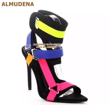 ALMUDENA Pink Yellow Blue Color Block Buckle Strap Sandals Stiletto Heels Metal Buckle Decoration Dress Pumps Mixed Color Shoes
