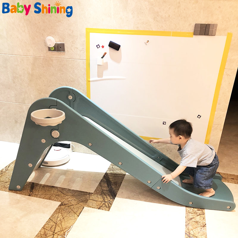 Baby Shining Children's Slide Toys 1-10 Years Old Indoor Slide Lengthen 170CM/67IN Household Toys Basketball Stand Toy