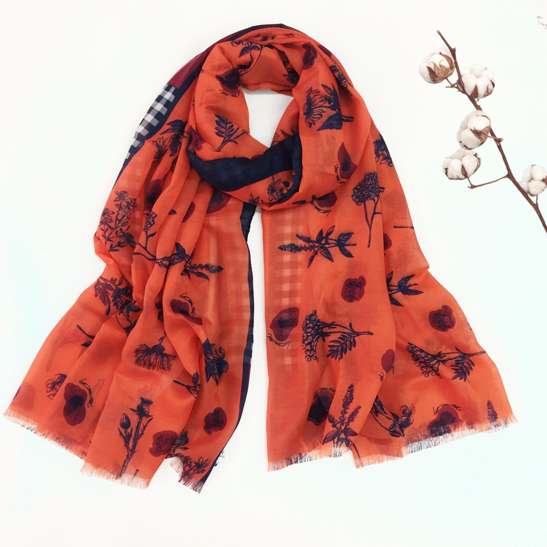 2019 Newest Fashion Small Flower Fringe Scarves Shawls Long Soft Poppy Muslim Hijab Wrap 6Color Wrap 10pcs/LOT Free Shipping