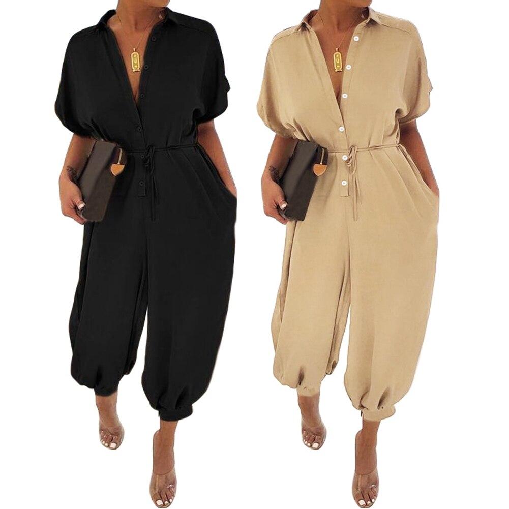 Women Vintage Jumpsuits Celmia Short Sleeve Rompers Cargo Pants Button Casual Harem Trouser Plus Size Overalls Combinaison Femme