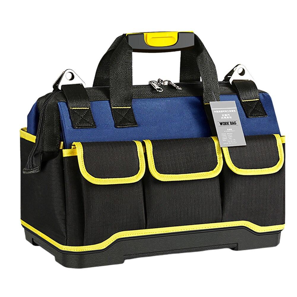 Durable Canvas Fabric Flat Bottom Organizer Multipurpose Tool Bag Zipper Thicken Storage With Handle Car Repair Multi Pockets