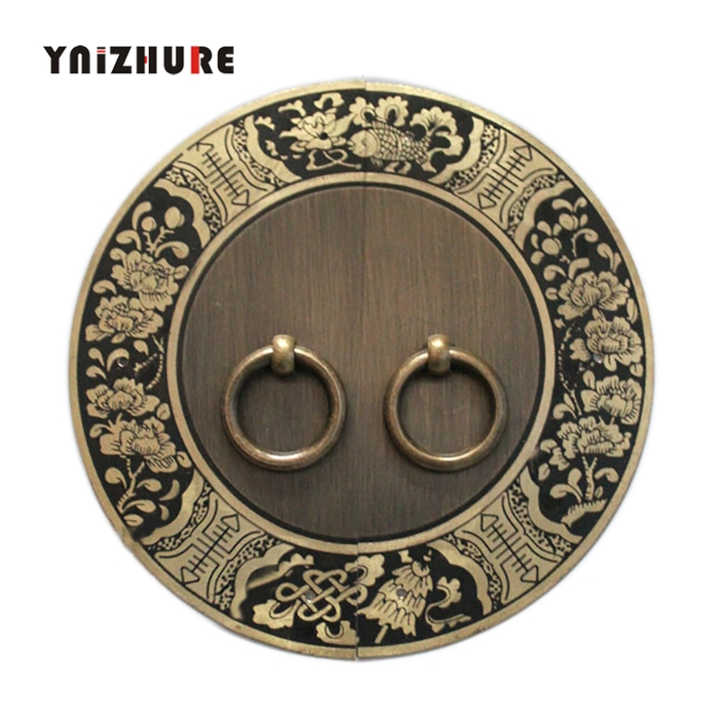 140mm Chinese Antique Furniture Cabinet Drawer Handle Copper Round with Screw Diameter