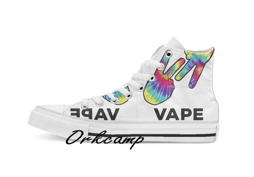 Vape Naysh Tie Dye Shirt Custom Casual Hoge Top Lace-Up Canvas Schoenen Sneakers Drop Shipping