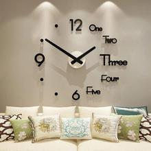 Reloj de pared en 3D de diseño moderno, reloj de pared Vintage grande, reloj de pared grande, para el hogar pegatina, cocina, reloj de decoración para sala de estar