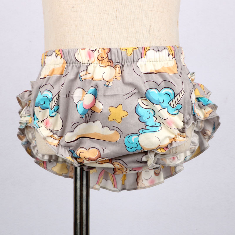Купить с кэшбэком Baby Girl Shorts and Headband Girls Boys PP Pants Nappy Diaper Covers Baby Bloomers Unicorn Printed Baby Clothing 0-2 Years
